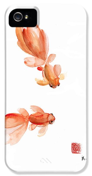 Pisces Zodiac Fishes Orange Red  Pink Fish Water Goldfish Watercolor Painting IPhone 5s Case by Johana Szmerdt