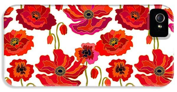 1950s iPhone 5s Case - Poppies Field. Seamless Vector Pattern by Svetlana Kononova