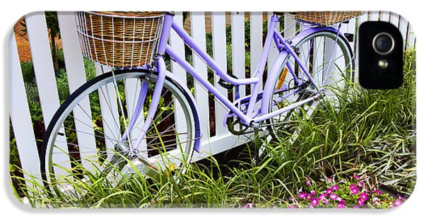 Bicycle iPhone 5s Case - Purple Bicycle And Flowers by David Smith