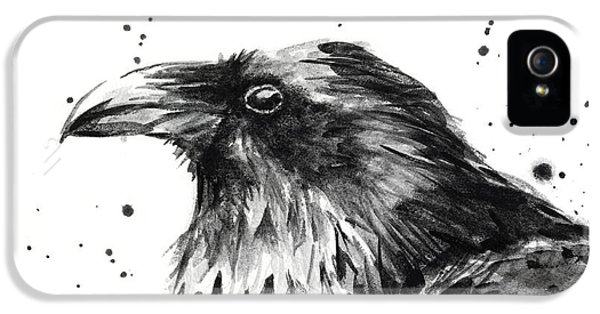 Crow iPhone 5s Case - Raven Watercolor Portrait by Olga Shvartsur