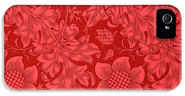 Pattern iPhone 5s Case - Red Sunflower Wallpaper Design, 1879 by William Morris