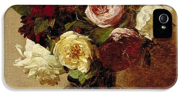 Floral iPhone 5s Case - Roses by Ignace Henri Jean Fantin-Latour