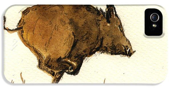Pig iPhone 5s Case - Running Wild Boar by Juan  Bosco