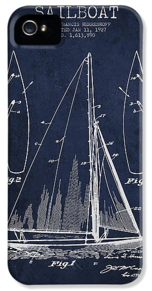 Boat iPhone 5s Case - Sailboat Patent Drawing From 1927 by Aged Pixel