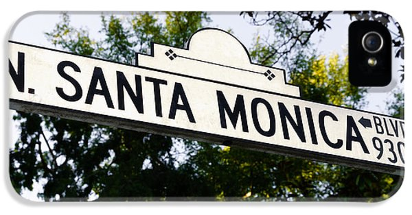 Santa Monica Blvd Street Sign In Beverly Hills IPhone 5s Case by Paul Velgos