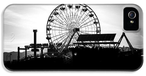 Santa Monica Ferris Wheel Black And White Photo IPhone 5s Case by Paul Velgos