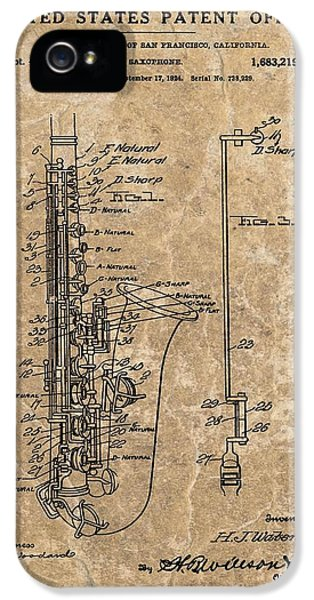 Saxophone Patent Design Illustration IPhone 5s Case
