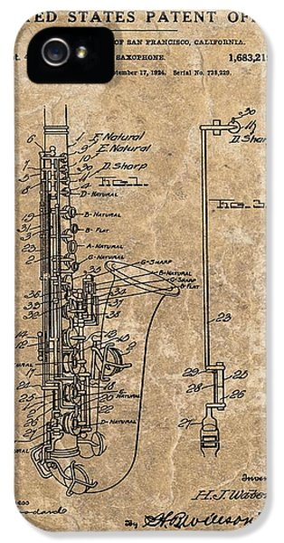 Saxophone Patent Design Illustration IPhone 5s Case by Dan Sproul