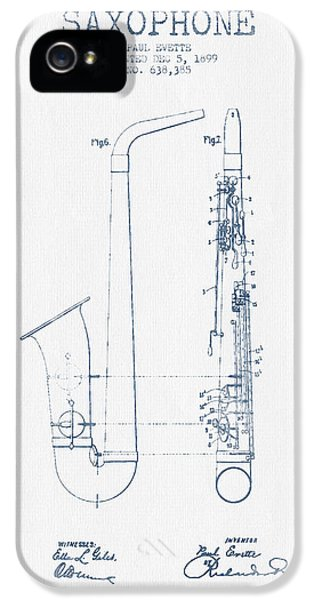 Saxophone Patent Drawing From 1899 - Blue Ink IPhone 5s Case by Aged Pixel