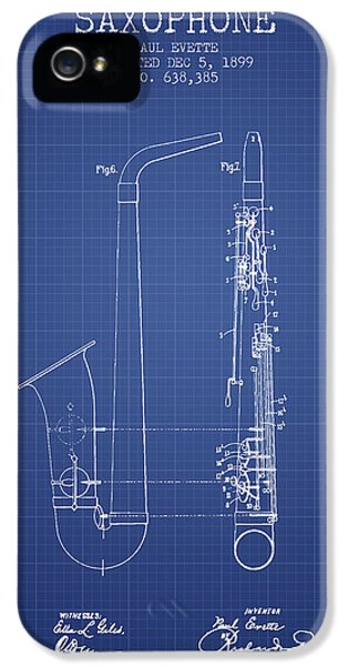 Saxophone Patent From 1899 - Blueprint IPhone 5s Case by Aged Pixel