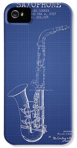 Saxophone Patent From 1937 - Blueprint IPhone 5s Case by Aged Pixel