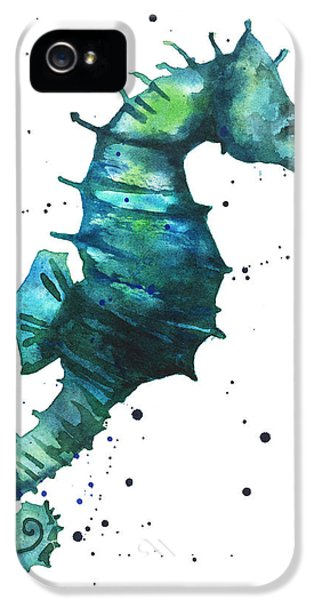 Seahorse iPhone 5s Case - Seahorse In Teal by Alison Fennell