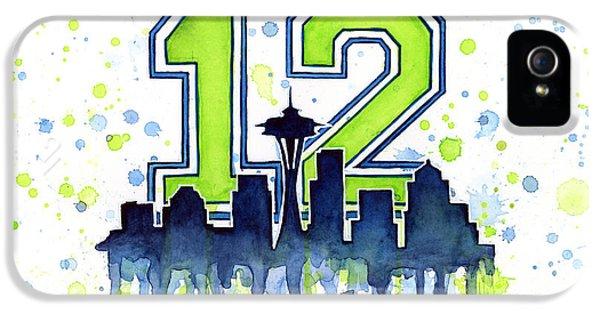 Seattle Seahawks 12th Man Art IPhone 5s Case by Olga Shvartsur