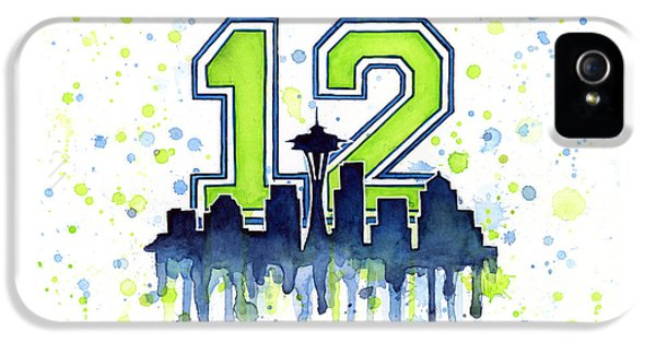 Seattle Skyline iPhone 5s Case - Seattle Seahawks 12th Man Art by Olga Shvartsur