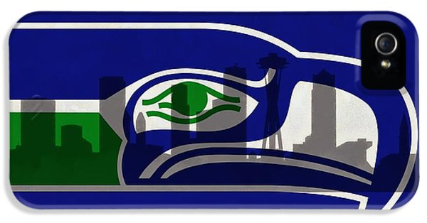 Seattle Skyline iPhone 5s Case - Seattle Seahawks On Seattle Skyline by Dan Sproul