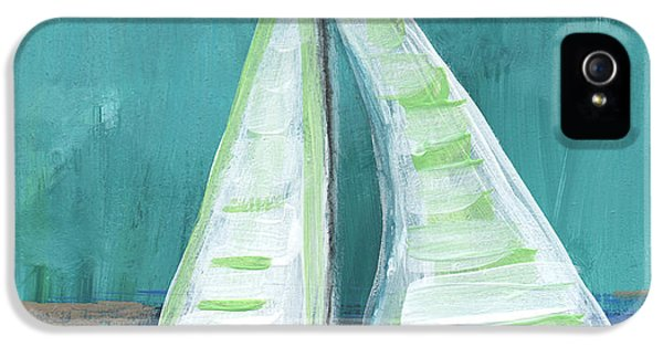 Boat iPhone 5s Case - Set Free- Sailboat Painting by Linda Woods