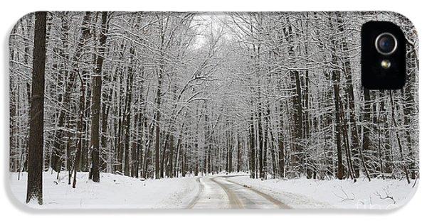 Snowy Road In Oak Openings 7058 IPhone 5s Case by Jack Schultz