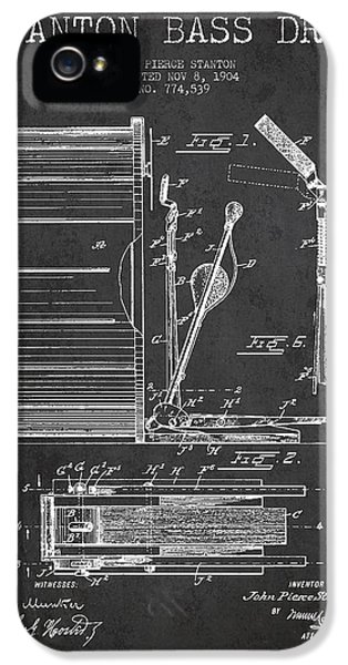 Drum iPhone 5s Case - Stanton Bass Drum Patent Drawing From 1904 - Dark by Aged Pixel