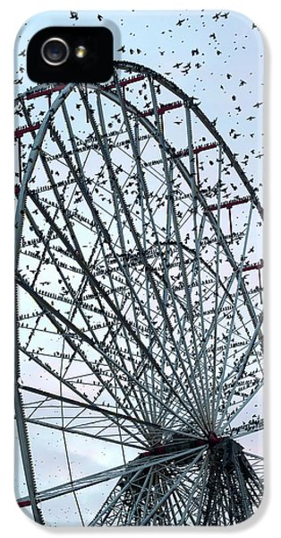 Starlings iPhone 5s Case - Starling Flock On Blackpool Ferris Wheel by Simon Booth