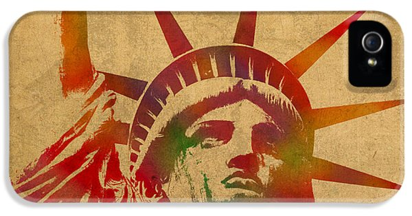 Statue Of Liberty Watercolor Portrait No 2 IPhone 5s Case by Design Turnpike