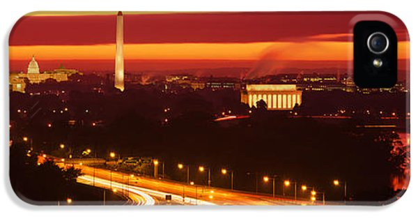 Washington Monument iPhone 5s Case - Sunset, Aerial, Washington Dc, District by Panoramic Images