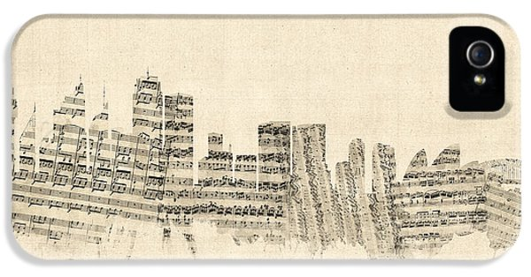 Sydney Australia Skyline Sheet Music Cityscape IPhone 5s Case by Michael Tompsett