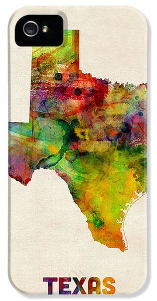 Dallas iPhone 5s Case - Texas Watercolor Map by Michael Tompsett