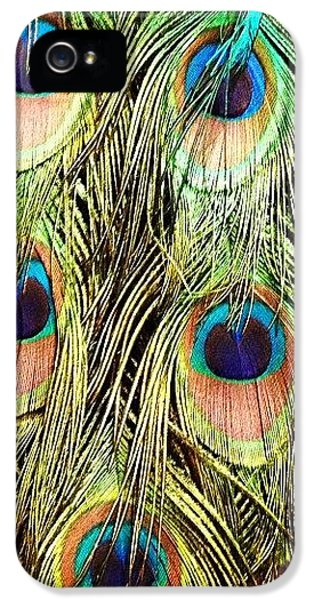 Colorful iPhone 5s Case - Peacock Feathers by Blenda Studio