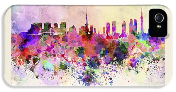 Tokyo Skyline In Watercolor Background IPhone 5s Case by Pablo Romero