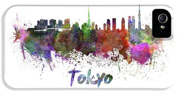 Tokyo Skyline In Watercolor IPhone 5s Case by Pablo Romero