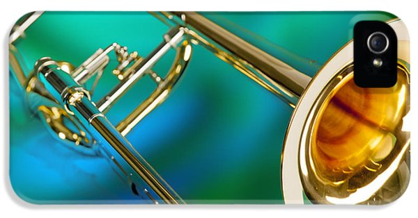 Trombone iPhone 5s Case - Trombone Against Green And Blue In Color 3204.02 by M K Miller