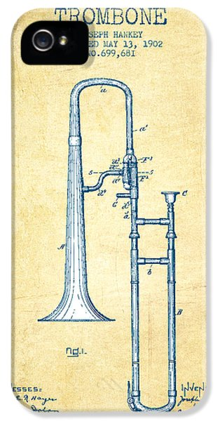 Trombone Patent From 1902 - Vintage Paper IPhone 5s Case