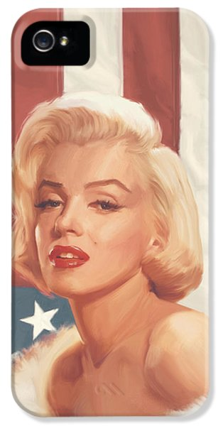 True Blue Marilyn In Flag IPhone 5s Case by Chris Consani