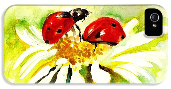 Two Ladybugs In Daisy After My Original Watercolor IPhone 5s Case by Tiberiu Soos
