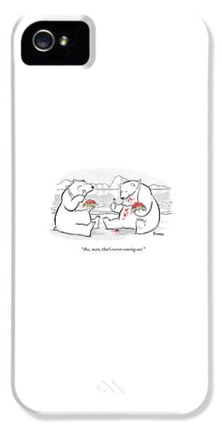 Polar Bear iPhone 5s Case - Two Polar Bears Eat Spaghetti And Meatballs.  One by Benjamin Schwartz