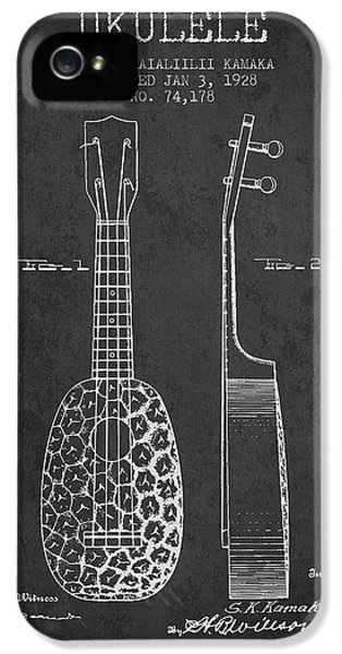 Ukulele Patent Drawing From 1928 - Dark IPhone 5s Case