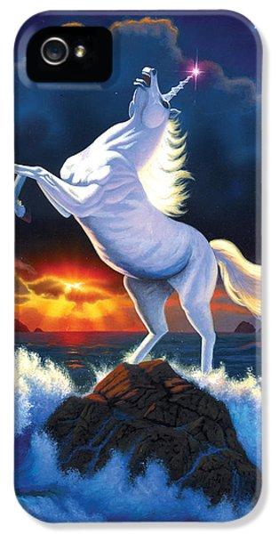 Unicorn Raging Sea IPhone 5s Case by Chris Heitt