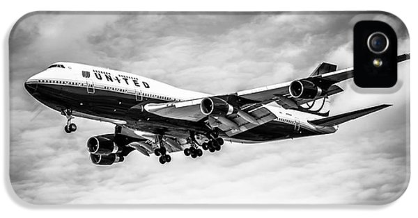 Airplane iPhone 5s Case - United Airlines Airplane In Black And White by Paul Velgos