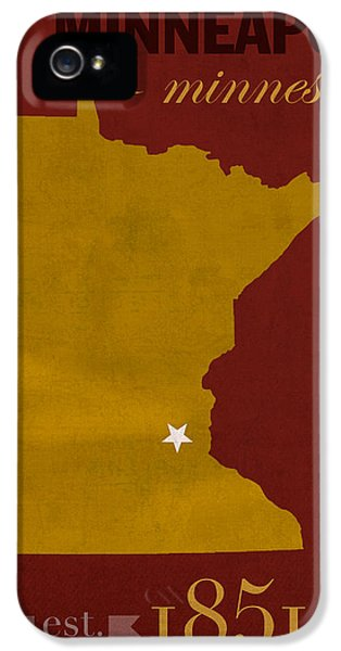 University Of Minnesota iPhone 5s Case - University Of Minnesota Golden Gophers Minneapolis College Town State Map Poster Series No 066 by Design Turnpike