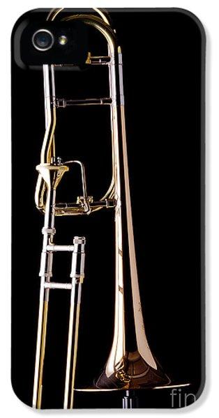 Trombone iPhone 5s Case - Upright Rotor Tenor Trombone On Black In Color 3465.02 by M K Miller