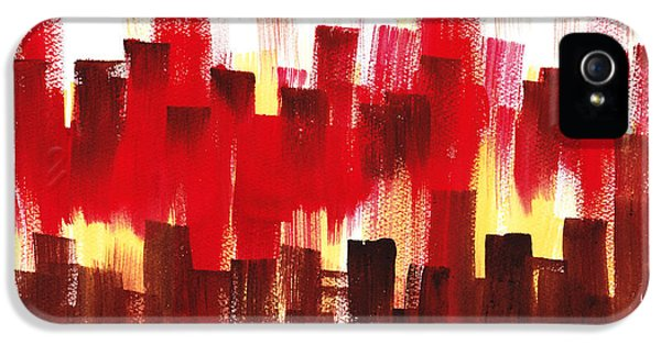 IPhone 5s Case featuring the painting Urban Abstract Evening Lights by Irina Sztukowski