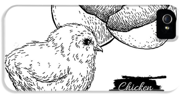 Etching iPhone 5s Case - Vector Vintage Hand Drawn Chicken Baby by Epine