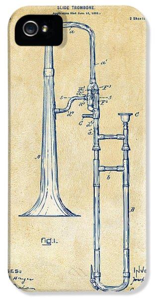 Trombone iPhone 5s Case - Vintage 1902 Slide Trombone Patent Artwork by Nikki Marie Smith