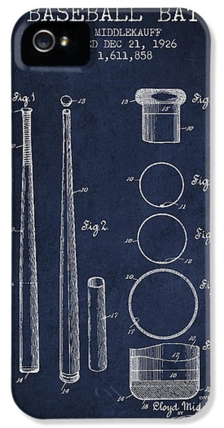 Softball iPhone 5s Case - Vintage Baseball Bat Patent From 1926 by Aged Pixel