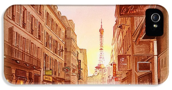 Vintage Paris Street Eiffel Tower View IPhone 5s Case by Irina Sztukowski