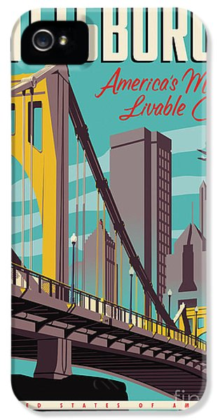 Airplane iPhone 5s Case - Pittsburgh Poster - Vintage Travel Bridges by Jim Zahniser