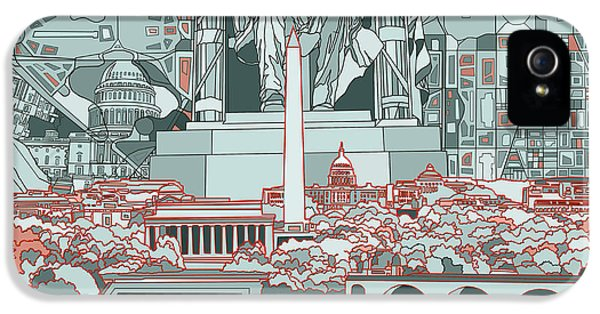 Lincoln Memorial iPhone 5s Case - Washington Dc Skyline Abstract by Bekim Art