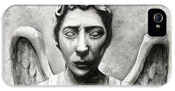 Science Fiction iPhone 5s Case - Weeping Angel Don't Blink Doctor Who Fan Art by Olga Shvartsur