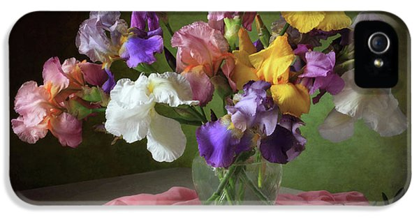 Pastel Colors iPhone 5s Case - With A Bouquet Of Irises And Flowers Lupine by ??????????? ??????????