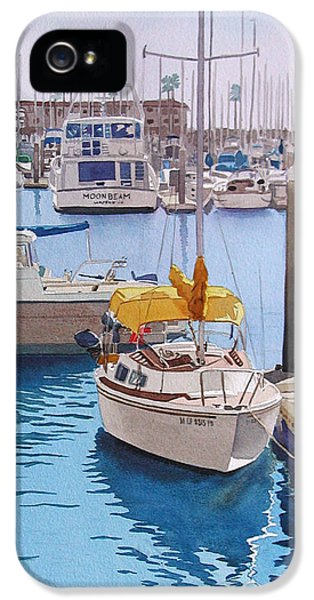 Boat iPhone 5s Case - Yellow Sailboat Oceanside by Mary Helmreich